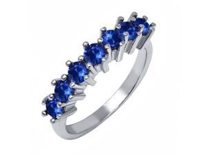 0.91 Ct Round Blue Sapphire 925 Sterling Silver Ring
