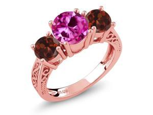 2.76 Ct Pink Created Sapphire Red Garnet 18K Rose Gold Plated Silver 3-Stone Ring