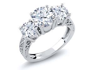 2.90 Ct Round White Topaz Gemstone Birthstone 925 Sterling Silver 3-Stone Ring