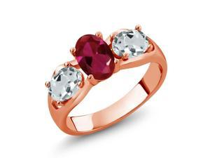 1.76 Ct Red Created Ruby Sky Blue Aquamarine 18K Rose Gold Plated Silver Ring