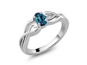 0.55 Ct Oval London Blue Topaz 925 Sterling Silver Women's Ring Sizes 5 to 9