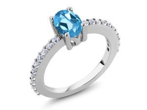 1.10 Ct 7x5mm Oval Swiss Blue Topaz and White Created Sapphire 925 Silver Ring