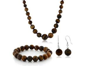 10mm Tiger Eye Brown Color Cross Cut  Bead Necklace Bracelet and Earrings Set