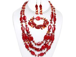 """19"""" Red Coral and Stone Chips Necklace Bracelet and Earrings Set"""