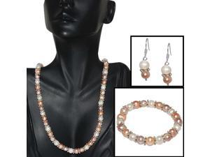 """Pink & White Cultured Freshwater Pearl Necklace Earrings Bracelet Set 7-8MM 18"""""""