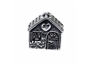 Solid 925 Sterling Silver Lovely House Bead Charm (9mm X 9mm)
