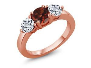 2.20 Ct Round Red Garnet White Topaz 18K Rose Gold Plated Silver Ring