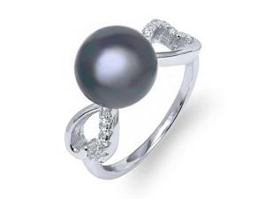10mm Black Cultured Freshwater Pearl  & Zirconia 925 Sterling Silver Ring