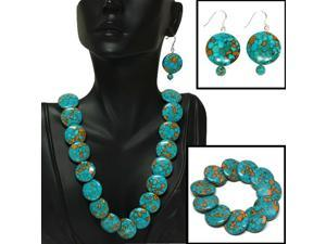 """Green Simulated Turquoise Howlite Necklace 18"""" w/ clasp Bracelet Earrings Set"""
