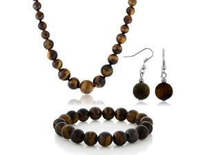 10mm Tiger Eye Brown Color Round  Bead Necklace Bracelet and Earrings Set