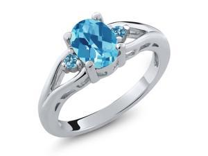 1.40 Ct Oval Checkerboard Swiss Blue Topaz 925 Sterling Silver Ring