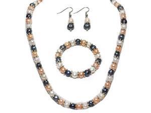 "Multi-Color Cultured Freshwater Pearl Necklace Earrings Bracelet Set 7-8MM 18"""