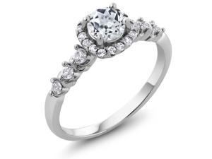 1.02 Ct Round White Topaz 925 Silver Engagement Ring