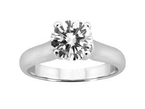 1.00 Ct Round I/J VS2 Enhanced Diamond 14K White Gold Ring
