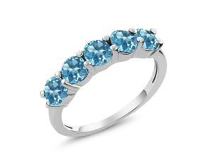 1.65 Ct Round Swiss Blue Topaz 925 Sterling Silver 5-Stone Band