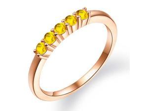 0.43 Ct Round Yellow Sapphire 18K Rose Gold Plated Silver Ring