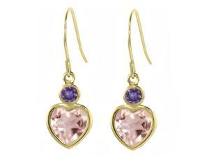 1.60 Ct Heart Shape Rose Rose Quartz Purple Amethyst 14K Yellow Gold Earrings