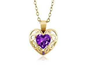 0.75 Ct Heart Shape Purple Amethyst 14K Yellow Gold Pendant