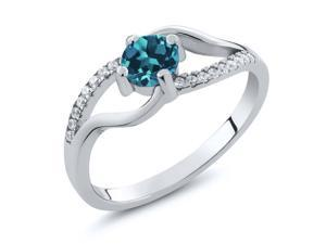 0.77 Ct Round London Blue Topaz 925 Sterling Silver Ring