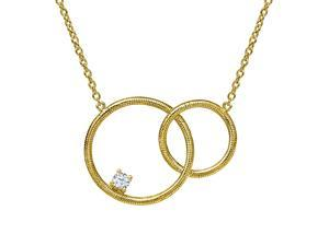 0.11 Ct Round White Zirconia 18K Yellow Gold Plated Silver Necklace