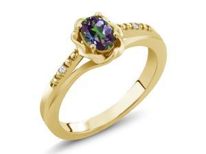 0.52 Ct Oval Green Mystic Topaz White Topaz 18K Yellow Gold Plated Silver Ring