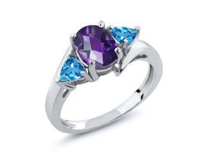 1.56 Ct Oval Checkerboard Purple Amethyst Swiss Blue Topaz 925 Silver Ring