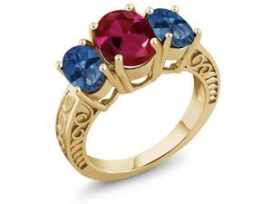 3.60 Ct Created Ruby Royal Blue Mystic Topaz 18K Yellow Gold Plated Silver Ring