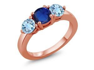 1.90 Ct Blue Simulated Sapphire Sky Blue Aquamarine 18K Rose Gold Plated Silver Ring