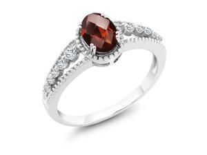 1.01 Ct Oval Checkerboard Red Garnet White Topaz 18K White Gold Ring