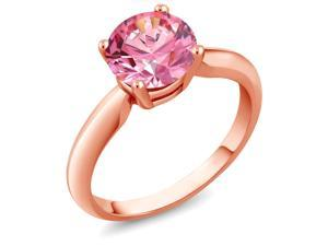2.04 Ct Fancy Pink 925 Rose Gold Plated Silver Ring Made With Swarovski Zirconia