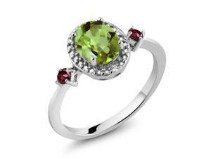 1.52 Ct Oval Green Peridot Red Rhodolite Garnet 925 Sterling Silver Ring