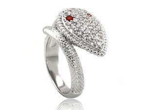 Cubic Zirconia Snake Ring Rhodium Plated Brass