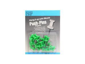 Moore Push Pins green plastic pack of 20