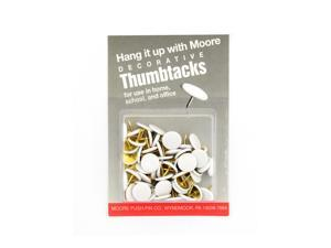 Moore Economy Decorative Thumb Tacks white pack of 60