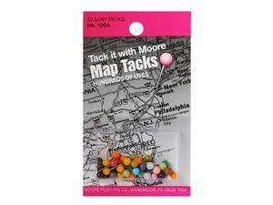 Moore Map Tacks assorted card of 50