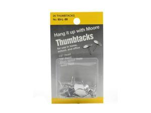 Moore Solid Head, Nickel-Plated Thumbtacks 1/2 in. head, 1/2 in. point pack of 20