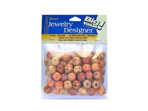 Darice Big Value Printed Wooden Beads 12 mm barrel pack of 60