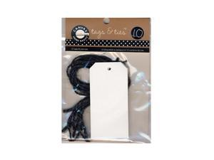 Canvas Corp Tags with Jute Ties skinny white pack of 10