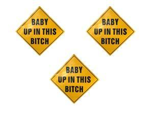 Zone Tech Reflective Funny Bumper Decal Magnet Humorous Baby HEADTURNER- 3 Pack