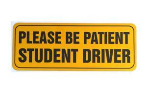 """Zone Tech Effective Bumper Decal """"Please Be Patient Student Driver"""" Car Magnet Black Block Lettering on Neon Yellow Background 3.5"""" X 9""""- 1 Pack"""