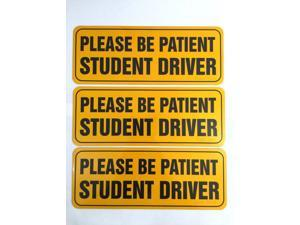 """Zone Tech Effective Bumper Decal """"Please Be Patient Student Driver"""" Car Magnet Black Block Lettering on Neon Yellow Background 3.5"""" X 9""""- 3 Pack"""