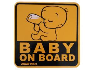 Zone Tech Highly Reflective Yellow and Black Baby on Board Car Magnet Premium Quality Bottle Baby Vehicle Magnet