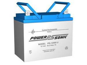 Power-Sonic PS-12550 12V/55AH Sealed Lead Acid Battery with U Terminal
