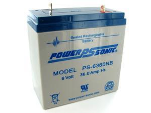 Power-Sonic PS-6360-NB 6V/36AH Sealed Lead Acid Battery-NB Terminal