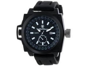 Smith & Wesson Men's SWW-LW6097 EGO Bold Large Black Dial Rubber Band Watch