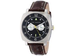 Ted Baker Men's TE1106 Sport Multi-Function Stainless Steel and Black Leather Watch