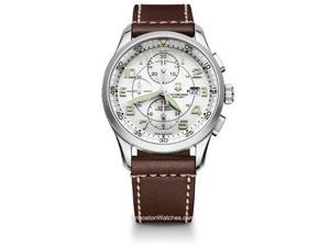 Victorinox Airboss White Dial Brown Leather Mens Watch 241598