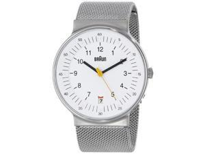 Braun Men's BN0082WHSLMHG Classic Mesh Analog Display Quartz White Watch