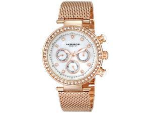 Akribos XXIV Women's AK682RG Lady Diamond Analog Display Japanese Quartz Rose Gold Watch