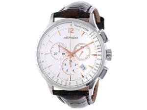 Movado Circa Chronograph White Dial Brown Leather Strap Mens Watch 0606576